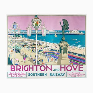 Vintage Brighton & Hove Rail Poster by Kenneth Denton, 1938