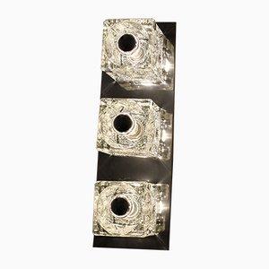 Lámpara de pared plateada con tres puntos de luz en forma de cubitos de hielo de Peill & Putzler, años 70