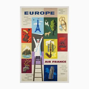 Vintage Air France Europe Poster by Jean Carlu, 1959