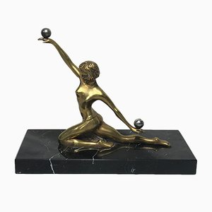 Sculpture de Danseur Art Déco en Bronze Doré par Serge Yourievitch, France, 1920s