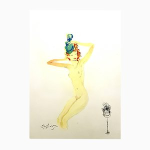 Almost Dressed Lithograph by Jean-Gabriel Domergue, 1956