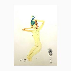 Litografia Almost Dressed di Jean-Gabriel Domergue, 1956