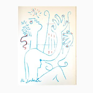 The Musician Lithograph by Jean Cocteau, 1961