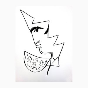Portrait Lithograph by Jean Cocteau, 1965