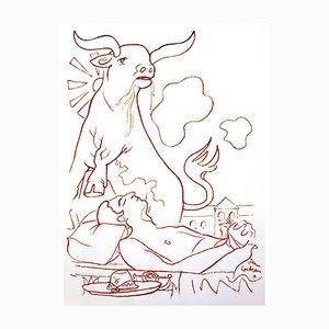 Vision Lithografie von Jean Cocteau, 1965