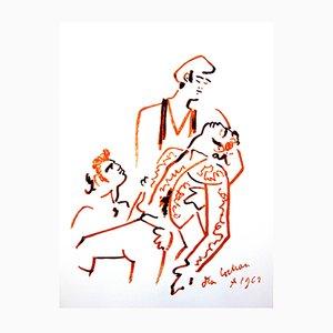 Spanische Pieta Lithografie von by Jean Cocteau, 1965