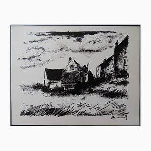 House in Rueil Lithografie von Maurice de Vlaminck, 1958