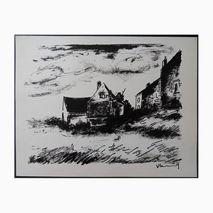 House in Rueil Lithograph by Maurice de Vlaminck, 1958