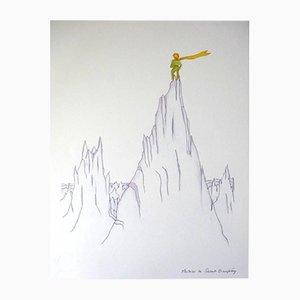Litografía Little Prince On Summits de Antoine de Saint Exupery, años 40