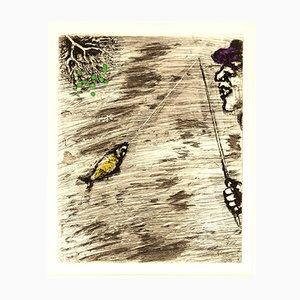 Acquaforte The Fisher and Little Fish colorata a mano di Marc Chagall, 1927