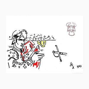 Hero Lithografie von Jean Cocteau, 1965