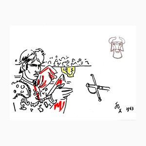 Litografia Hero di Jean Cocteau, 1965
