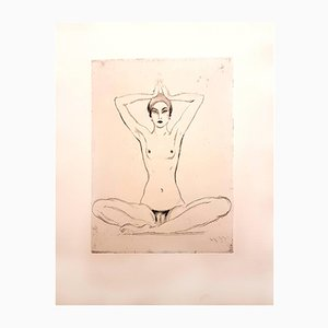 Gravure à l'Eau-Forte Woman's Meditation par Jean Gabriel Domergue, 1924