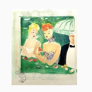 Litografia At the Café Rue Caumartin di Jean-Gabriel Domergue, 1956
