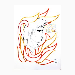 Fire Portrait Lithograph by Jean Cocteau, 1965