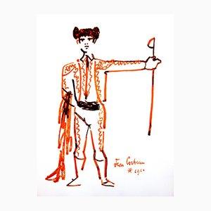 Lithographie Portrait par Jean Cocteau, 1965
