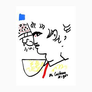 Portrait Lithografie von Jean Cocteau, 1965