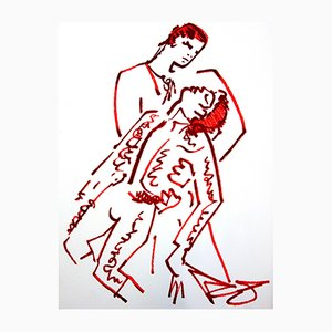 Lovers Lithograph by Jean Cocteau, 1965