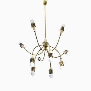 Lámpara de araña italiana Mid-Century Modern de latón, años 50