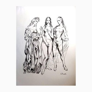 The Three Graces Original Lithograph by Léonard Foujita, 1960