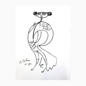 Surrealist Torrero Original Lithograph by Jean Cocteau, 1965