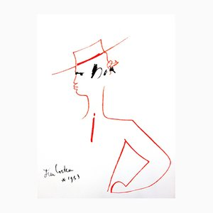 Man with Hat Original Lithograph by Jean Cocteau, 1965