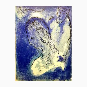 Blue Portrait Lithografie von Marc Chagall, 1956