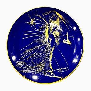 Blau-goldener Teller aus Limoges-Porzellan mit Venus-Motiv von Salvador Dali, 1967