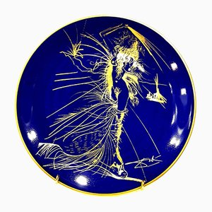 Blue and Gold Limoges Porcelain Venus Plate by Salvador Dali, 1967