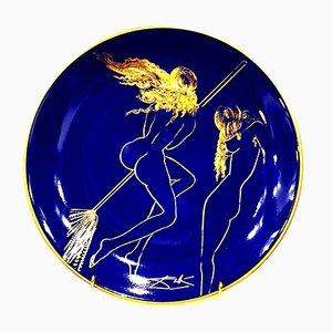 Blau-goldener Teller aus Limoges-Porzellan mit Sabat-Motiv von Salvador Dali für Salins Earthenware, 1968