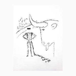 Bull Portrait Lithograph by Jean Cocteau, 1965