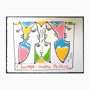 Europe Bridge of Civlizations Original Lithograph by Jean Cocteau, 1961