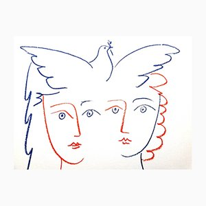 Women and Dove Lithograph by Pablo Picasso, 1956