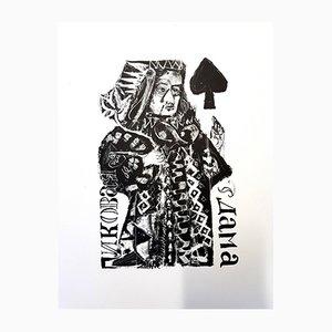 For Pushkin's Queen of Spades originale Lithographie von Antoni Clavé, 1946