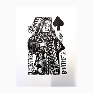 Litografía original de Pushkin's Queen of Spades de Antoni Clavé, 1946