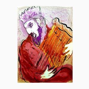 Litografía original Bible King con letras de Marc Chagall, 1956