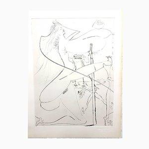 Gravure à l'Eau-Forte Originale Vénus à la Fourrure Signée au Tampon par Salvador Dali, 1968