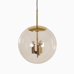 Lámpara colgante esférica de vidrio de Glashütte Limburg, años 70
