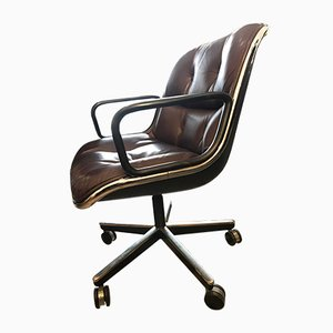 Vintage Burgundy Swivel Desk Chair by Charles Pollock for Knoll Inc.