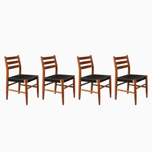 Scandinavian Pine & Leather Dining Chairs, 1960s, Set of 4