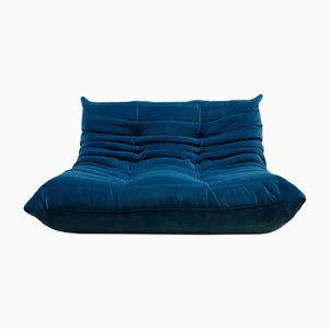 Blaues Vintage Togo 2-Sitzer Sofa aus Samt von Michel Ducaroy für Ligne Roset, 1970er