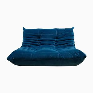 Vintage Togo Blue Velvet 2-Seater Sofa by Michel Ducaroy for Ligne Roset, 1970s