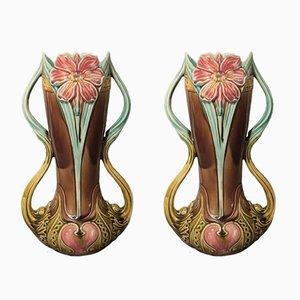 Jarrones antiguos modernistas de cerámica de Barbotine D'Onnaing. Juego de 2