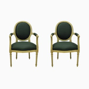 French Painted & Gilded Armchairs, 1950s, Set of 2