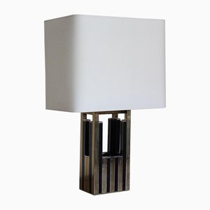 Spanish Brass, Chrome & Black Lacquered Table Lamp, 1970s