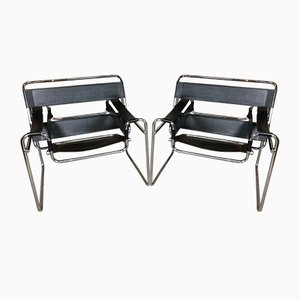 B3 Wassily Steel & Leather Chairs by Marcel Breuer, 1960s, Set of 2