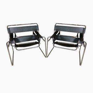 Sedie B3 Wassily in acciaio e pelle di Marcel Breuer, anni '60, set di 2