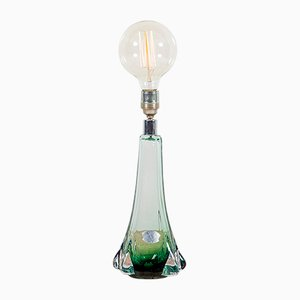 Green Glass Table Lamp from Val Saint Lambert, 1950s