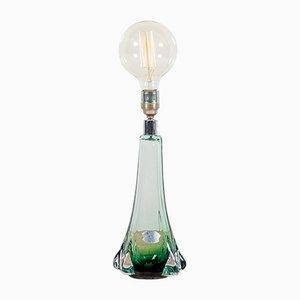 Lámpara de mesa de vidrio verde de Val Saint Lambert, años 50