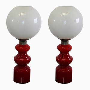 Space Age Glass Table Lamps, 1960s, Set of 2